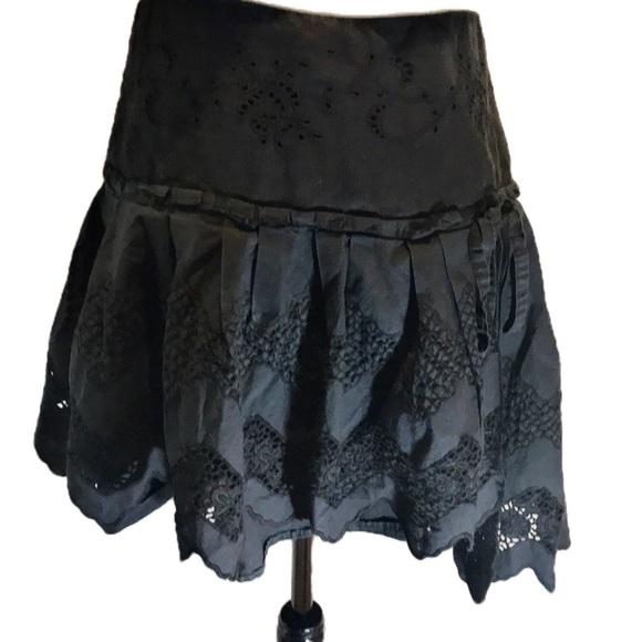 """""""ADVINA DIVINA """" Italian Black Eyelet Skirt."""